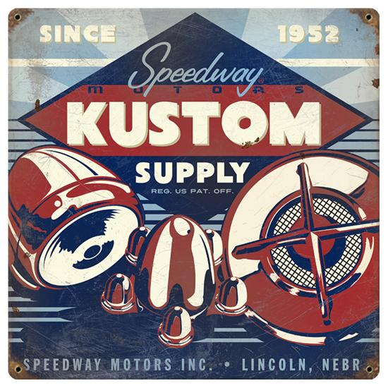Speedway Kustom Supply Vintage Tin Sign