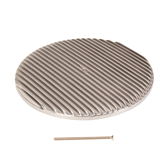 12 Round Air Cleaner : Inch round finned air cleaner top lid polished aluminum