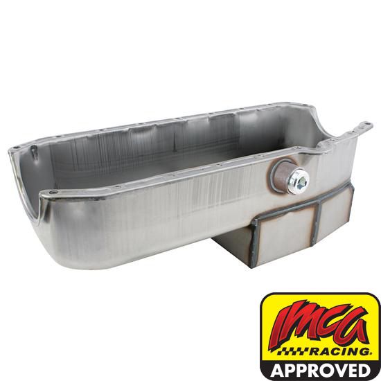 Speedway '55-'79 Chevy Claimer Oil Pan w/ Inspect Plug, LH Dipstick