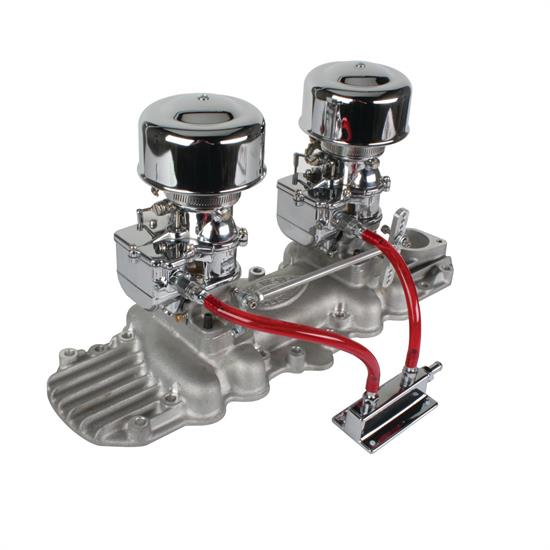 Chrome 9 Super 7® 2x2 Carb/Intake Manifold Kit, 1932-48 Flathead