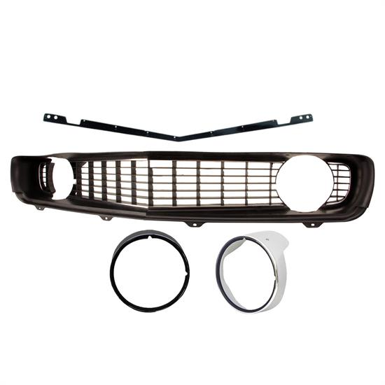 1969 Camaro Reproduction Black Grille Kit, Deluxe Bezels