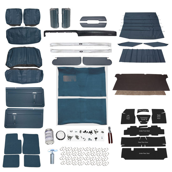 Complete Interior Kit for 1969-71 Nova w/o AC, Bench Seat, Blue