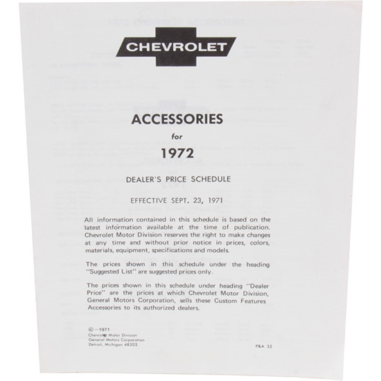 Dave Graham 72-AL 1972 Chevy Accessory Price List