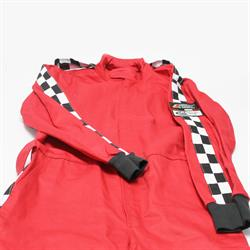 Garage Sale - Finishline Qualifier Racing Suit ONe Piece Single Layer SFI-1 Fire Retardant, Red, XL