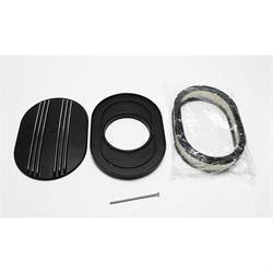 Garage Sale - 12 Inch Partial Finned Oval Air Cleaner Set w/ Paper Filter, Black