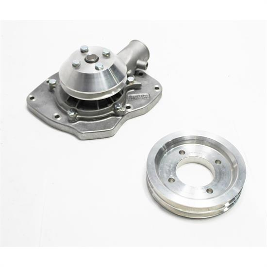 Garage Sale - Snow White Small Block Ford Shorty Water Pump, 2-Groove Pulley
