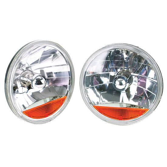 Garage Sale - Speedway 7 Inch Fluted Replacement Headlights w/ Amber Turn Signal