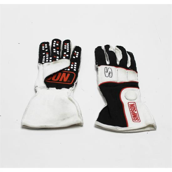 Garage Sale - Simpson Vortex Racing Driver Gloves SFI 3.3, Black/White, Large