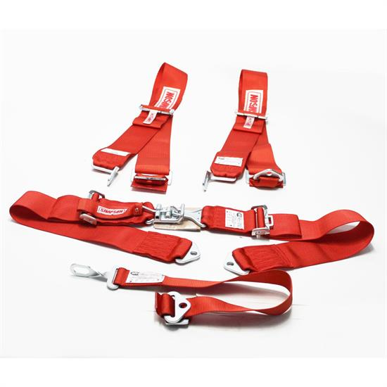 Garage Sale - Simpson 5-Point Seat Belt Sets, Bolt-In, Pull Down, Red