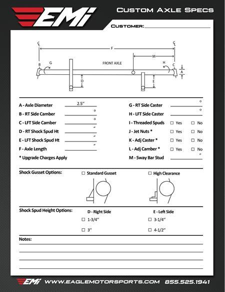 Custom Axle Build Sheet for an Eagle Sprint Car
