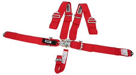 """T BUCKET SEAT BELTS PAIR 2/"""" LATCH /& LINK SEAT BELT 2 POINT RACING LAP FLAME RED"""