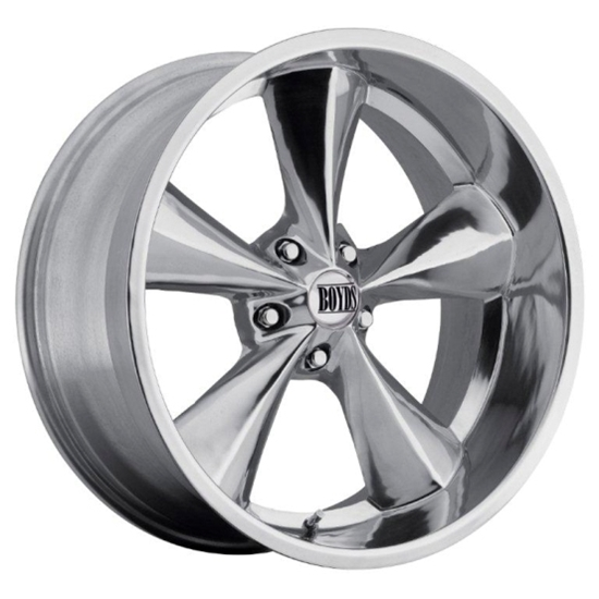 Boyds Wheels BC1-786145P Junkyard Dog 17x8 Polished Wheel, 5 on 4-3/4