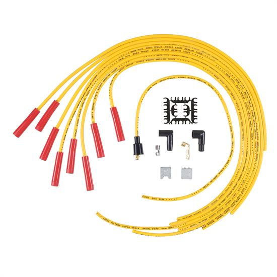 ACCEL 5040Y Super Stock Spiral Core Race Wire Set, 8MM, Yellow