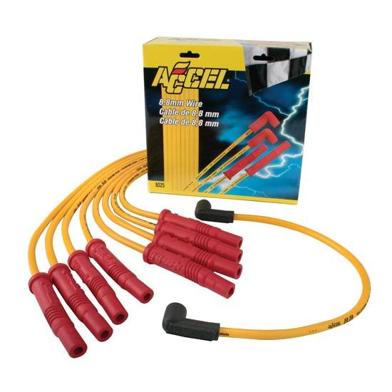 Accel 8025 8.8 Universal Spiral Core Spark Plug Wire Set, Straight on
