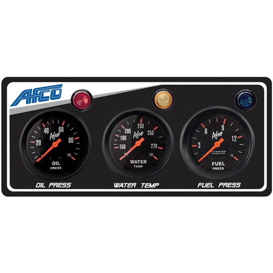 AFCO 85124B 3-Gauge Panel w/ Oil Press, Water Temp, Fuel Press