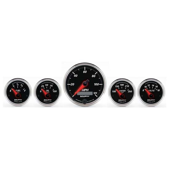 Auto Meter 1201 Designer Black II 5 Piece Electric Gauge Kit