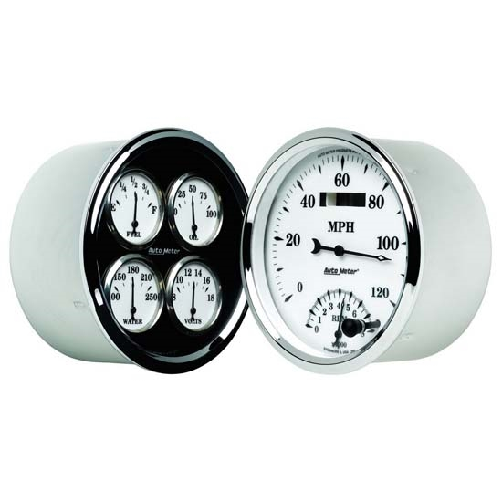 Auto Meter 1203 Old-Tyme White II Air-Core Quad Gauge Set, 5 Inch