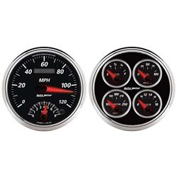Auto Meter 1204 Designer Black II Air-Core Quad Gauge, 5 Inch