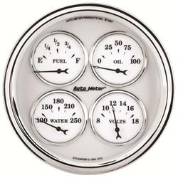 Auto Meter 1210 Old-Tyme White II Air-Core Quad Gauge, 5 Inch