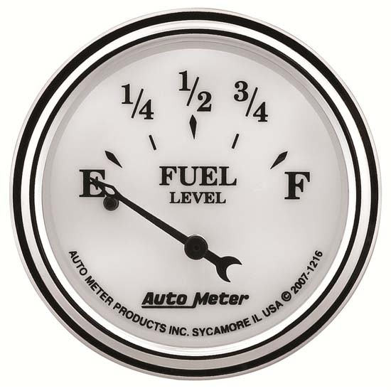 Auto Meter 1216 Old-Tyme White II Air-Core Fuel Level Gauge