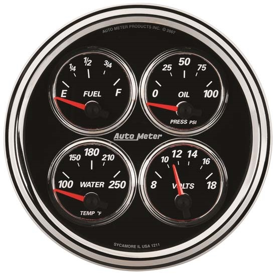 Auto Meter 1224 Designer Black II Air-Core Quad Gauge, 5 Inch