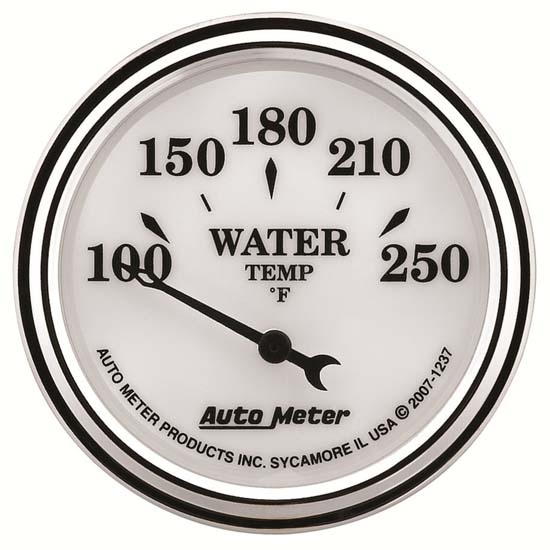 Auto Meter 1237 Old-Tyme White II Air-Core Water Temperature Gauge