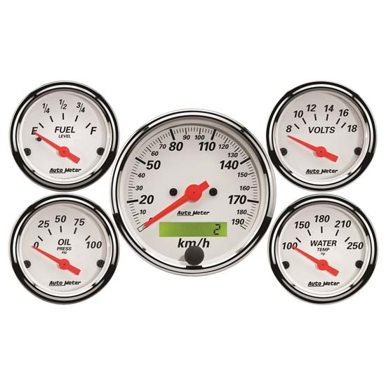 Auto Meter 1302-M Arctic White 5 Piece Gauge Kit