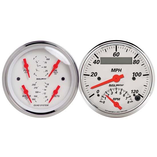 Auto Meter 1309 Arctic White Air-Core 2 Piece Gauge Kit