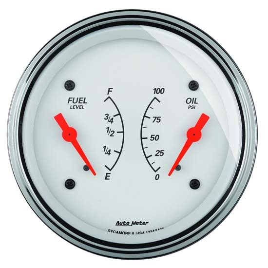 Auto Meter 1313 Arctic White Air-Core Dual Gauge