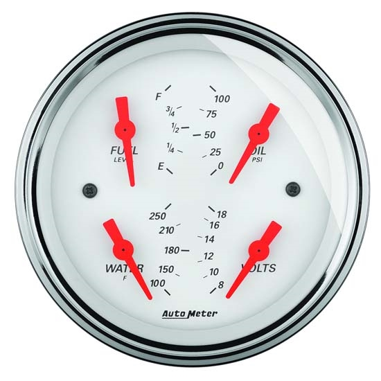 Auto Meter 1314 Arctic White Air-Core Quad Gauge