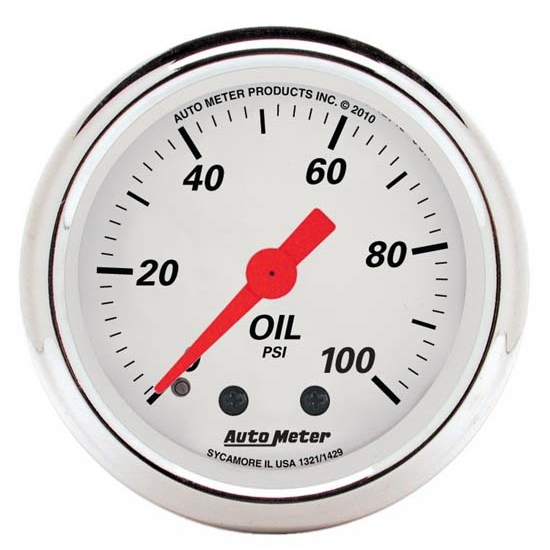 Auto Meter 1321 Arctic White Mechanical Oil Pressure Gauge
