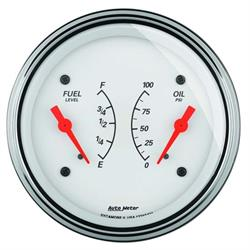 AutoMeter 1324 Arctic White Air-Core Dual Gauge