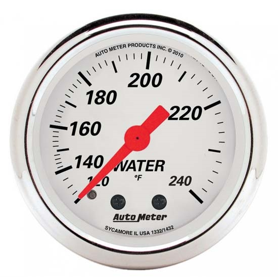Auto Meter 1332 Arctic White Mechanical Water Temperature Gauge