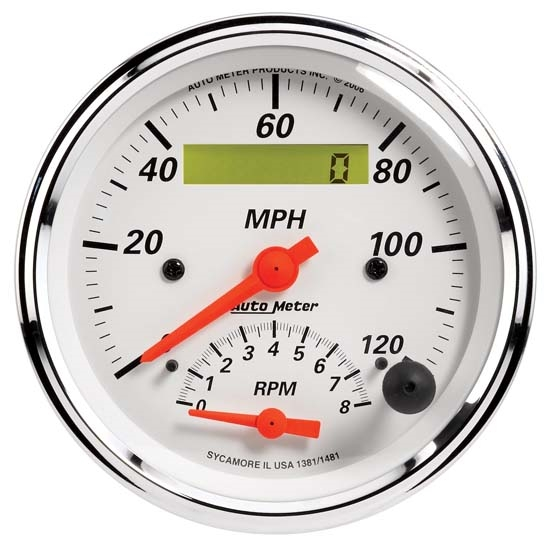 AutoMeter 1381 Arctic White Air-Core Tach/Speedometer Combo Gauge