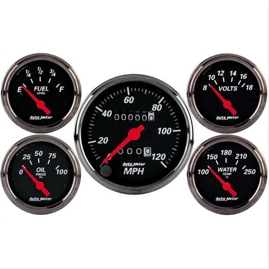 Auto Meter 1400 Designer Black 5 Piece Gauge Kit