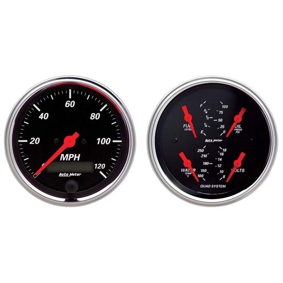 Auto Meter 1408 Designer Black Air-Core 2 Piece Gauge Kit, 3-3/8 Inch