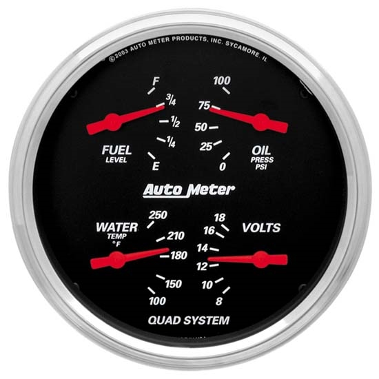 Auto Meter 1410 Designer Black Air-Core Quad Gauge, 5 Inch