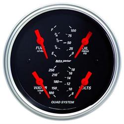 Auto Meter 1412 Designer Black Air-Core Quad Gauge, 3-3/8 Inch