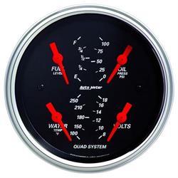 Auto Meter 1412 Designer Black Air-Core Quad Gauge, 3-3/8 Inch