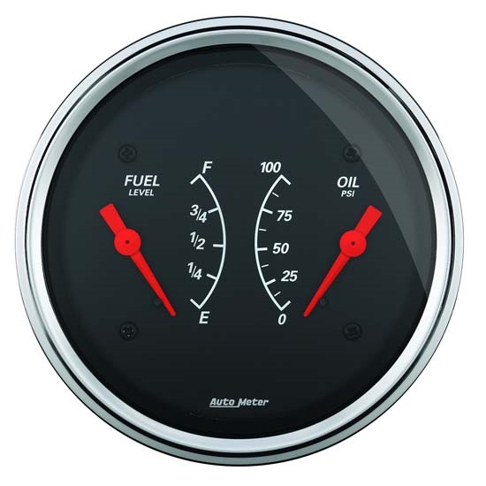 Auto Meter 1413 Designer Black Air-Core Dual Gauge, 3-3/8 Inch
