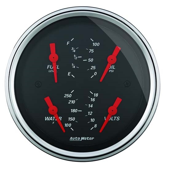 Auto Meter 1414 Designer Black Air-Core Quad Gauge, 3-3/8 Inch