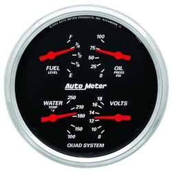 Auto Meter 1419 Designer Black Air-Core Quad Gauge, 5 Inch