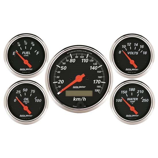 Auto Meter 1421-M Designer Black 5 Piece Electric Gauge Kit
