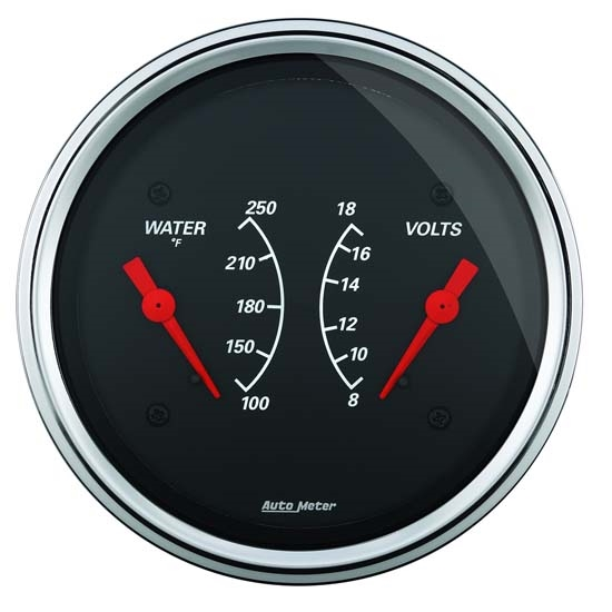 Auto Meter 1430 Designer Black Air-Core Dual Gauge, 3-3/8 Inch