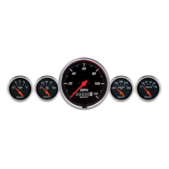 Auto Meter 1440 Designer Black 5 Piece Electric Gauge Kit