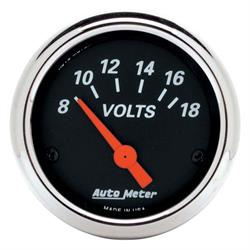Auto Meter 1483 Designer Black Air-Core Voltmeter Gauge, 2-1/16 Inch