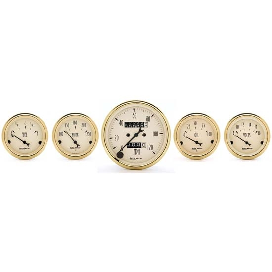 Auto Meter 1501 Golden Oldies 5 Piece Gauge Kit, Mechanical Speedo