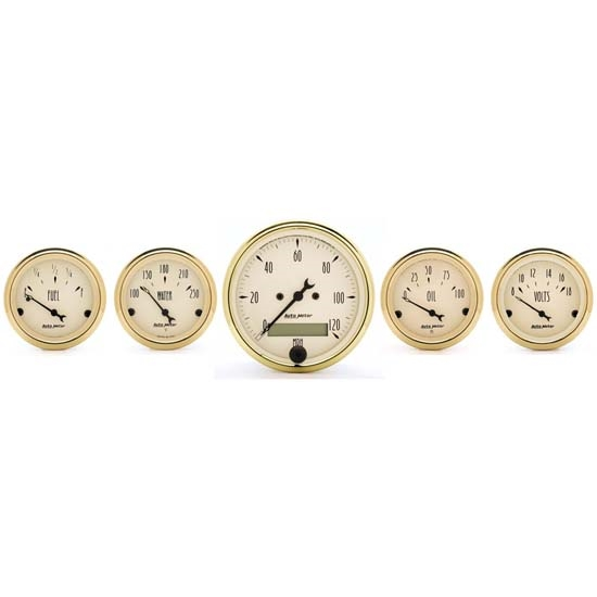 Auto Meter 1502 Golden Oldies 5 Piece Gauge Kit, Electric Speedometer
