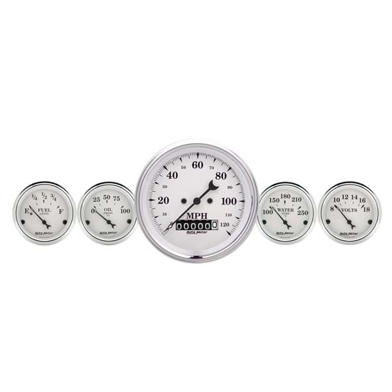 Auto Meter 1600 Old-Tyme White Air-Core 2 Piece Gauge Kit