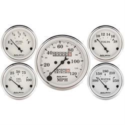Auto Meter 1601 Old-Tyme White 5 Gauge Set, Mechanical Speedometer